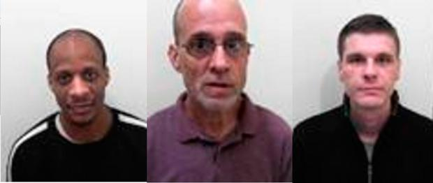 Composite of undated handout photos issued by Avon and Somerset Police of (l-r) Admi Headley, 34, Paul Bromwich, 54 and Wayne Maycock, 33, who absconded from HMP Leyhil, south Gloucestershire, on Nov 13. Credit: Avon and Somerset Constabulary/PA Wire