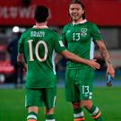 Jeff Hendrick, right, with team mate Robbie Brady