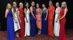 12 November 2016; In attendance at the TG4 Ladies Football All Stars awards in Citywest Hotel in Dublin are, Cork players, from left, Vera Foley, Roisín Phelan, Deirdre O'Reilly, Ciara O'Sullivan, Annie Walsh, Briege Corkery, Marie Ambrose, Bríd Stack, Martina O'Brien and Orla Finn. Photo by Cody Glenn/Sportsfile