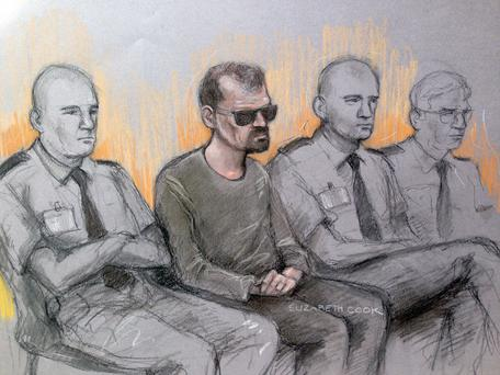 File court artist sketch by Elizabeth Cook dated 13/04/2016 of Stefano Brizzi in the dock at the Old bailey, London. Elizabeth Cook/PA Wire