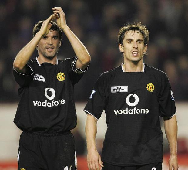 Roy Keane and Gary Neville in their Manchester United days