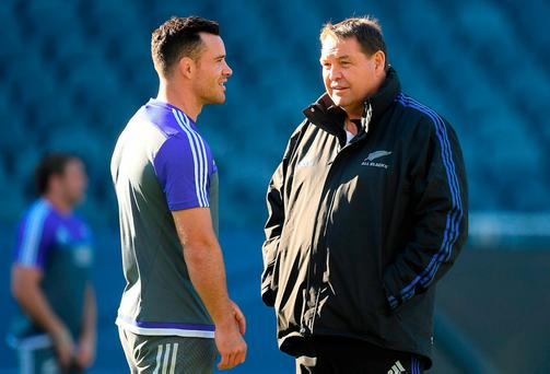 New Zealand head coach Steve Hansen, right, with Ryan Crotty during their team captain's run at Soldier Field in Chicago. Photo by Brendan Moran/Sportsfile