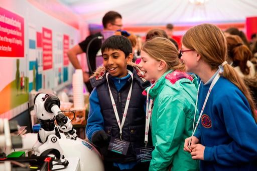 Students Bryan JijiJohn (11) and Muireann O'Donnell (11) from Abbeystrewry National School at National Digital Week in Skibbereen, Co Cork. Photo: Emma Jervis