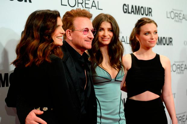 (L-R) Alison Hewson, honoree Bono, actress Eve Hewson, and Jordan Hewson attend Glamour Women Of The Year 2016 at NeueHouse Hollywood on November 14, 2016 in Los Angeles, California. (Photo by Kevork Djansezian/Getty Images)
