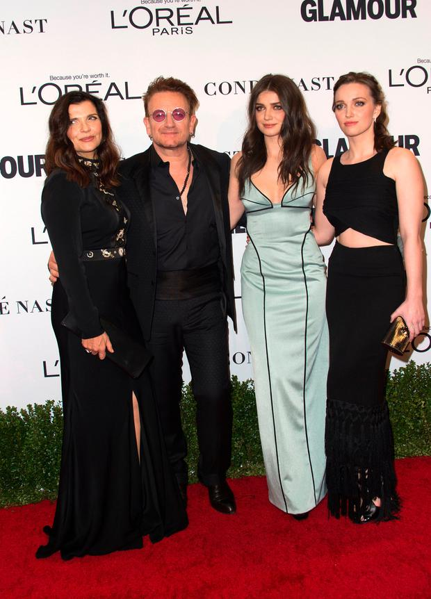 (L-R): Ali Hewson, musician Bono, Eve Hewson and Jordan Hewson attend 2016 the Glamour Women Of The Year Awards