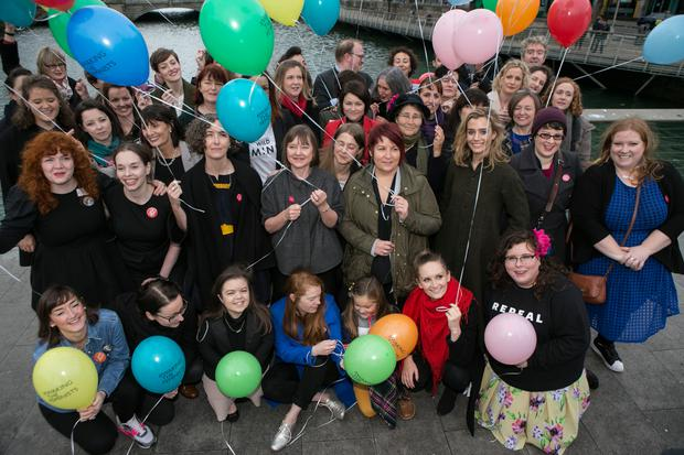 Lead by Campaign Director, Lian Bell, Actors, theatre professionals, writers, academics, business and community leaders all gathered on the Rosie Hackett Bridge before the final major public event at the AbbeyTheatre in #WakingTheFeminists' year long campaign for gender equality in Irish Theatre.