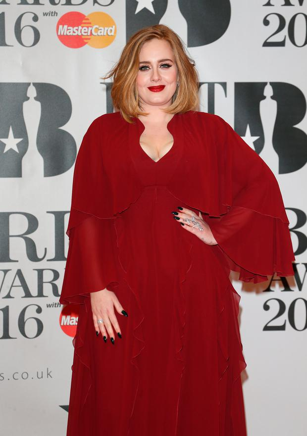 Adele attends the BRIT Awards 2016 at The O2 Arena on February 24, 2016 in London, England. (Photo by Luca Teuchmann/Getty Images)