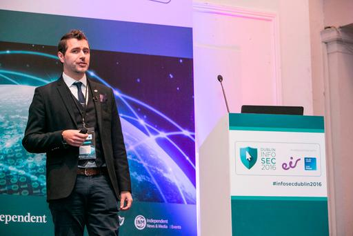 Joseph Carson speaking at the Dublin Info Sec 2016 Confrence in the RDS. (Photo: Kyran O'Brien)