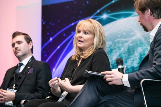 Joseph Carson, Mary Aiken and Adrian Weckler at the Info Sec 2016 Conference at the RDS