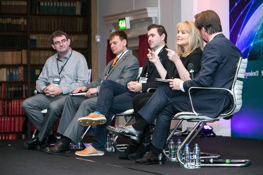 Brian Honan, Dr Pavel Gladyshev, Joseph Carson, Mary Aiken and Adrian Weckler at the Dublin Info Sec 2016 Conference in the RDS