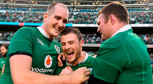 Ireland players, from left, Devin Toner, Robbie Henshaw and Donnacha Ryan celebrate victory after the International rugby match between Ireland and New Zealand at Soldier Field in Chicago, USA. Photo by Brendan Moran/Sportsfile