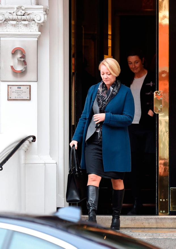 Swedish prosecutor Ingrid Isgren leaves the Ecuadorian embassy in London where Swedish authorites interviewed WikiLeaks founder Julian Assange Credit : Kirsty O'Connor/PA Wire