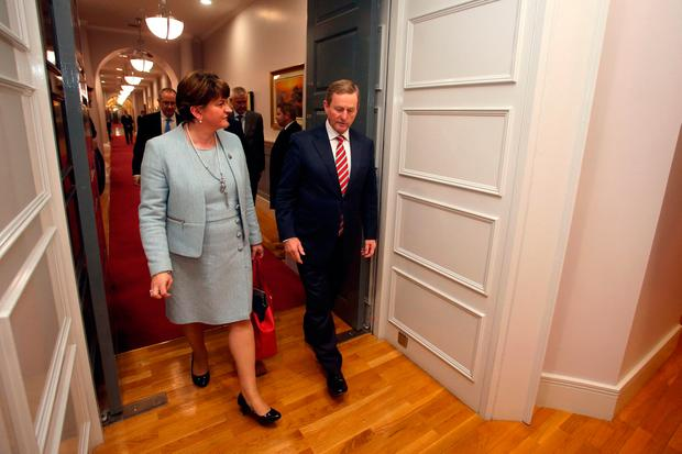 Taoiseach Enda Kenny with Northern Ireland First Minister Arlene Foster at Government Buildings in Dublin, where they are to discuss Brexit. Brian Lawless/PA Wire
