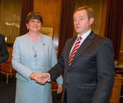 Taoiseach Enda Kenny met with First Minister Arlene Foster at Government Buildings yesterday evening. Photo: Mark Condren.
