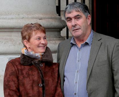 Martin Conmey with his wife Anne after yesterday's apology. Photo: Courtpix
