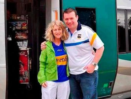 Nenagh councillor Virginia O'Dowd and Alan Kelly in 2012 when the new train service was introduced