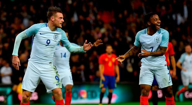 Jamie Vardy of England (9) celebrates as he scores their second goal during the international friendly match between England and Spain at Wembley