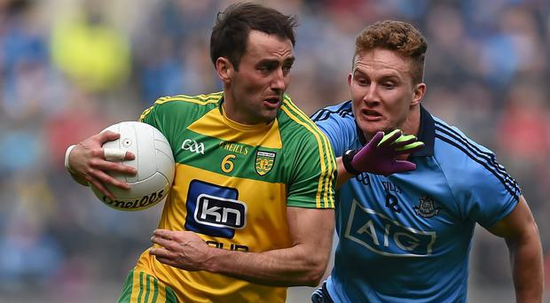 Donegal's Karl Lacey in action against Dublin last April. Picture credit: Brendan Moran / SPORTSFILE