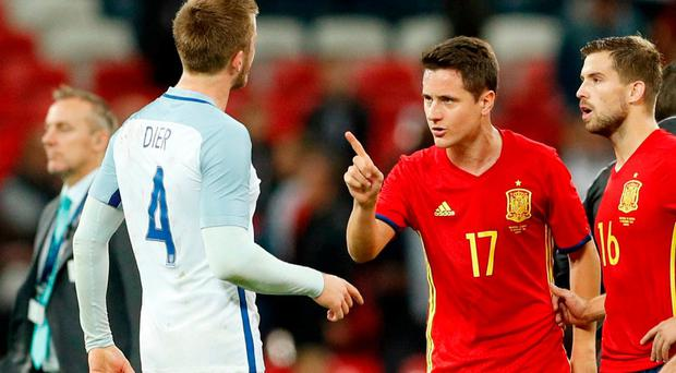 Spain's Ander Herrera clashes with England's Eric Dier after the match last night