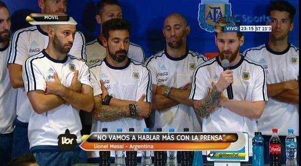 All 26 players of Argentina Naitonal Team were present at the press conference lead by Lionel Messi.