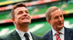Brian O'Driscoll and Taoiseach Enda Kenny at the bid launch last November. Photo by Ramsey Cardy/Sportsfile