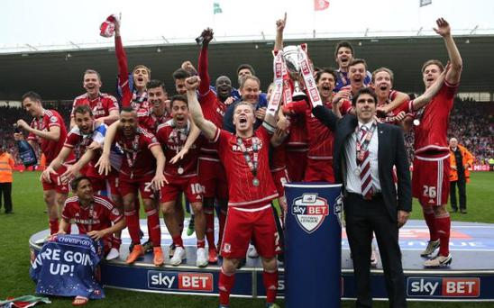 Middlesbrough manager Aitor Karanka and captain Grant Leadbitter celebrate last year's Championship win CREDIT: GETTY IMAGES