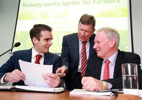 New IFA President Joe Healy pictured with Bryan Barry Acting Gen Sec and Richard Kennedy Deputy President. Picture Credit : Frank Mc Grath