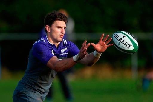 All Blacks out-half Beauden Barrett in training at Westmanstown, Dublin this week. Photo: Getty