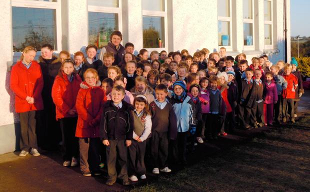Beaudin Barret paying a visit his old school at St Fiach's, Ballinacree back in 2012