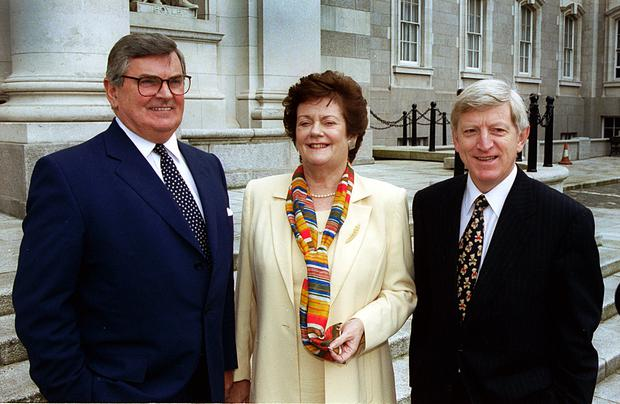 Mary O'Rourke, then Minister for Public Enterprise, Ray MacSharry, Telecom Eircom chairman, and Alfie Kane, ceo of Telecom Eireann, at the launch of Telecom Eireann's share offer prospectus in 1999 – a third flotation is said to be on the cards