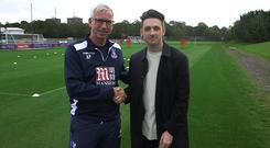 Crystal Palace manager Alan Pardew and Stephen Byrne - credit: @lifestyleRTE