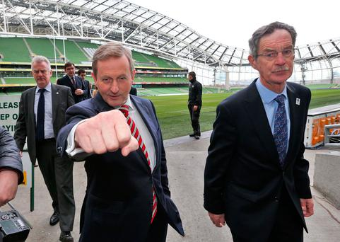 Taoiseach, Enda Kenny with Dick Spring, right, at the Aviva Stadium for the launch of of Ireland's bid to host the 2023 Rugby World Cup on Tuesday. Photo: Colin Keegan, Collins Dublin