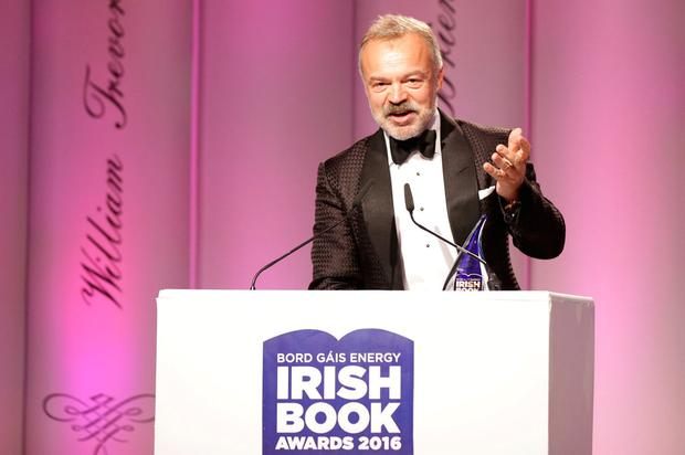 TV personality Graham Norton was honoured at the Bord Gáis Irish Book Awards last night where he was presented with the Irish Independent popular fiction award for his debut novel 'Holding'. Photo: David Conachy