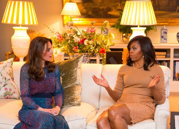 Catherine, Duchess of Cambridge speaks with First Lady of the United States Michelle Obama on April 22, 2016 in London, England. (Photo by Dominic Lipinski - WPA Pool/Getty Images)
