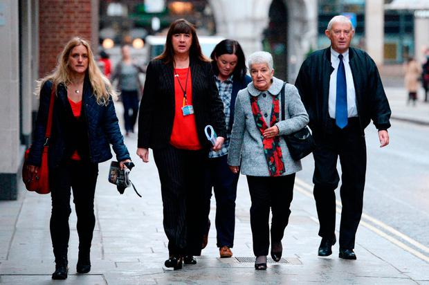 MP Jo Cox's sister Kim Leadbeater (left), and parents Jean (second right) and Gordon Leadbeater (right) arrive at the Old Bailey in London for the trial of Thomas Mair who is accused of her murder Credit: Victoria Jones/PA Wire