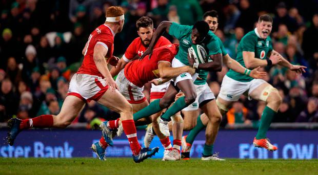 Niyi Adeolokun on the ball against Canada during the autumn international test at the Aviva Stadium last Saturday. Photo: PA