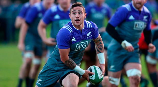 New Zealand's TJ Perenara in action during training in Westmanstown, Dublin yesterday. Photo by Phil Walter/Getty Images