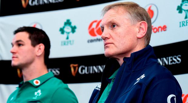 Ireland head coach Joe Schmidt with Jonathan Sexton during Ireland Rugby Squad Training at Carton House, Maynooth, Co. Kildare. Photo by Matt Browne/Sportsfile