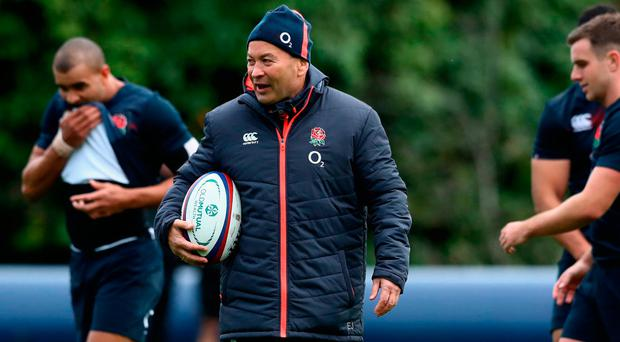 Eddie Jones, the England head coach looks on during the England training session held at Pennyhill Park in Bagshot, England. Photo by David Rogers/Getty Images