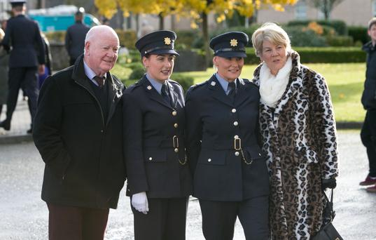 Probationer Garda Gemma Crampsie with her mother Garda Madeline Crampsie and her grandparents Gerry and Greta Daley from Letterkenny, Co Donegal, at the passing out ceremony in Templemore yesterday. Photo: Brian Gavin/Press 22