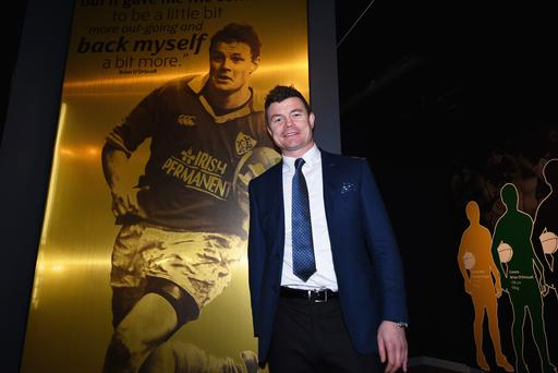 Brian O'Driscoll poses in the World Rugby Hall of Fame Exhibition after its launch yesterday. Photo: Getty