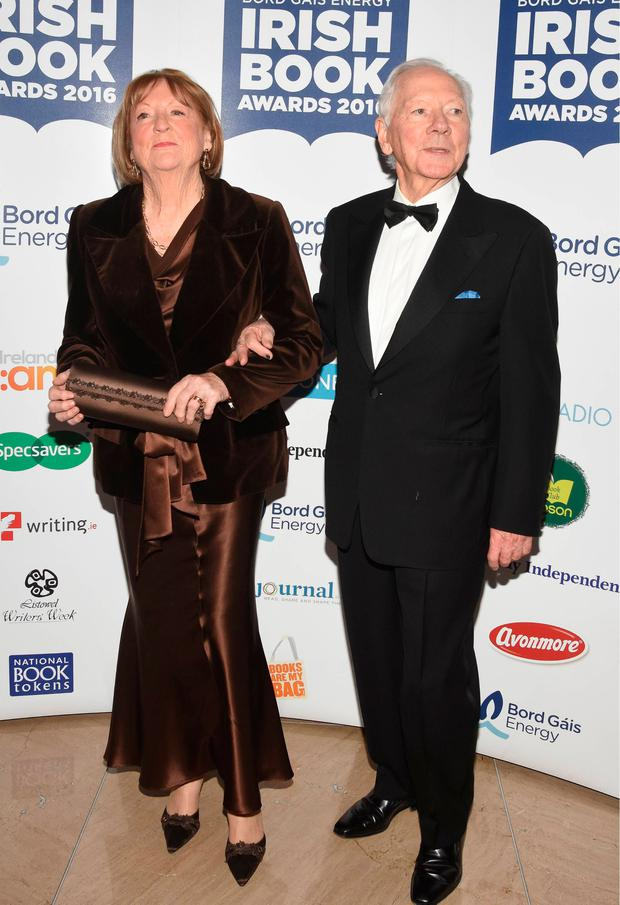 Kathleen Watkins and Gay Byrne at the Bord Gais Energy Irish Book Awards 2016 at The Doubletree Hilton, Dublin. Picture: G. McDonnell / VIPIRELAND.COM