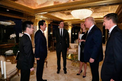 Japan's Prime Minister Shinzo Abe (2nd L) meets with U.S. President-elect Donald Trump (2nd R) at Trump Tower in Manhattan, New York, U.S., November 17, 2016. Cabinet Public Relations Office/HANDOUT via Reuters