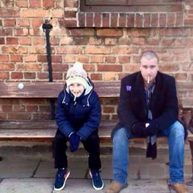 Mum Joanne Fetherston helped Jamie recreate his favourite photo of his dad, who died by suicide when he was four