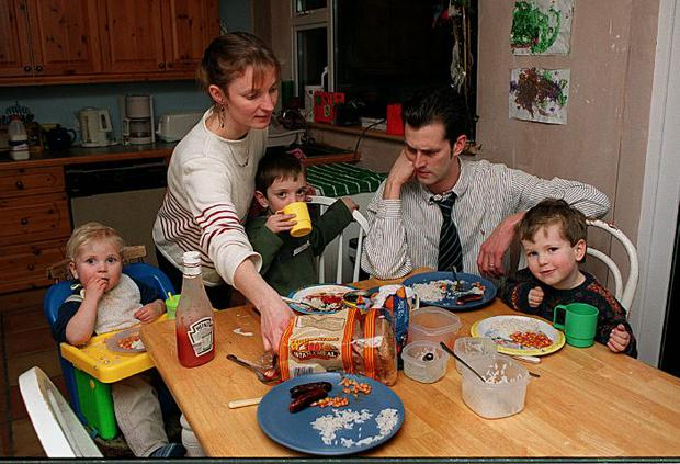 David pictured with his young family in 2000