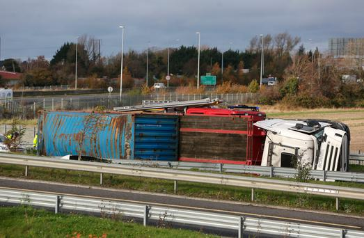 A HGV which turned on its side on the N2 southbound slip road to M50 Northbound. Credit: Damien Eagers