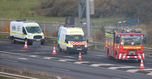 Emergency services vehicles on the n2 after a HGV which turned on its side on the N2 southbound slip road to M50 Northbound. Credit: Damien Eagers