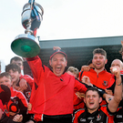 Oulart-The Ballagh manager Frank Flannery celebrates with his players at the end of last year's Leinster Club SHC final against Cuala. Picture credit: David Maher / SPORTSFILE