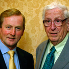 Taoiseach and Fine Gael leader Enda Kenny with former party leader Garret FitzGerald Photo: Tony Gavin