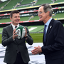 Dick Spring earlier this week with Philip Browne and Brian O'Driscoll at the World Cup 2023 bid launch at the Aviva Stadium Photo by Ramsey Cardy/Sportsfile